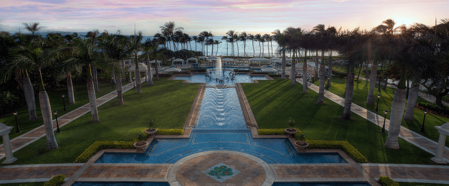 You can enjoy spectacular sunset views over the reflection pool at the Grand Wailea