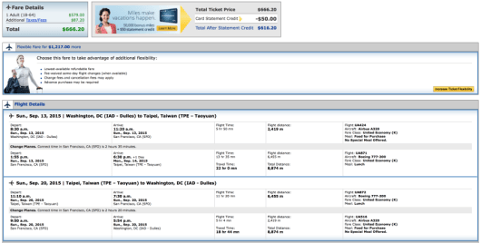 Washington, DC  to Taipei for $ round-trip on United.