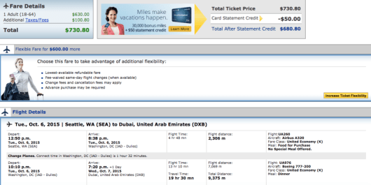 Seattle-Dubai booking through United