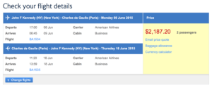 New York- Paris booking with British Airways in Business Class for $2,187.20 for 2 people.