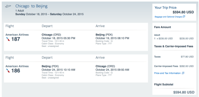 Chicago to Beijing for $594 round-trip on American.