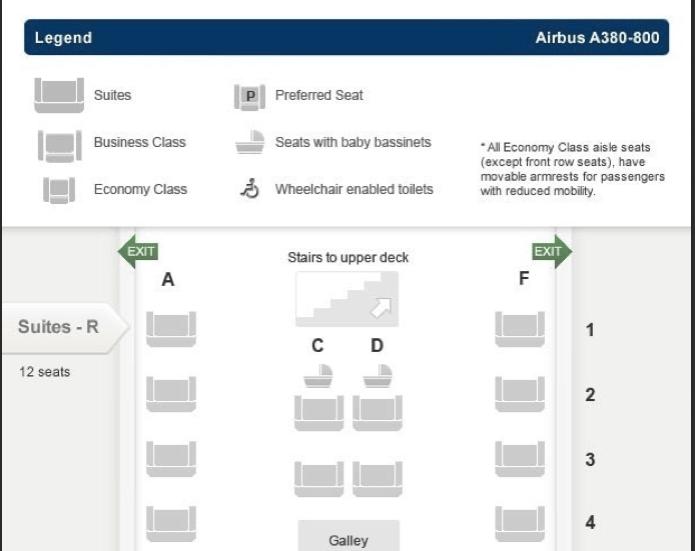 Singapore A380 seatmap