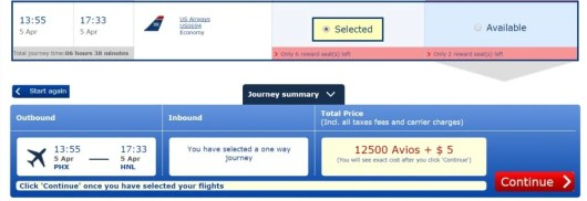 Phonex to Honolulu for only 12,500 Avios or 13,000 MR points. (You have to transfer in 1,000 point increments)