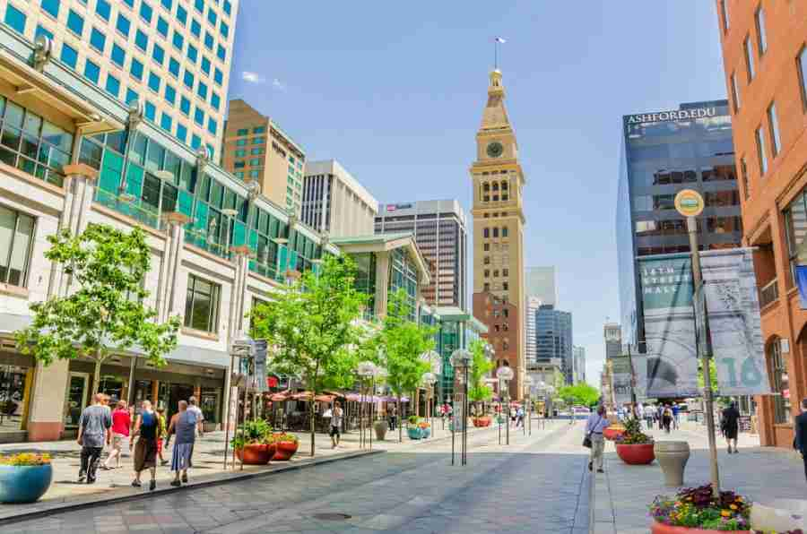 The 16th Street pedestrian mall. Photo courtesy of Albert Pego via Shutterstock