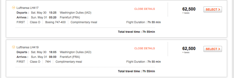 The mileage is low, but the surcharges are high for using Aeroplan miles to fly Lufthansa.