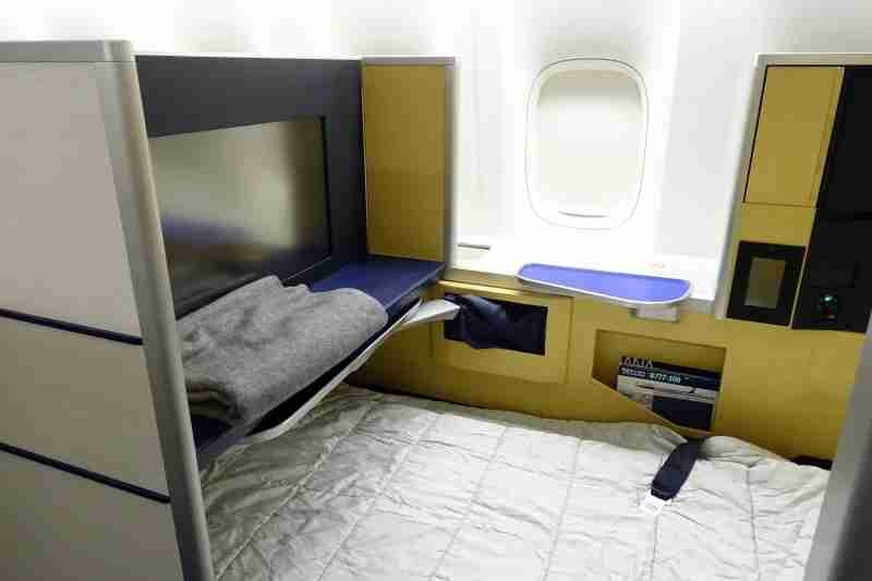 My first-class bed on ANA