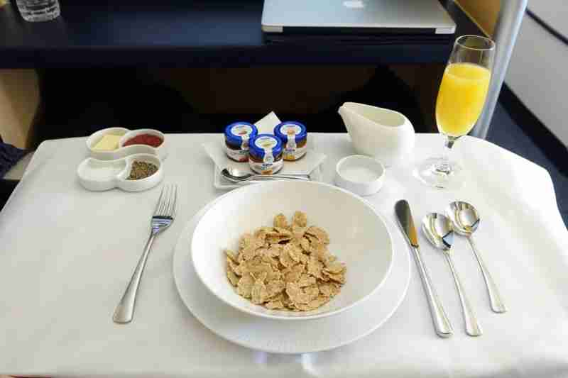 Corn flakes and jam in ANA first class.