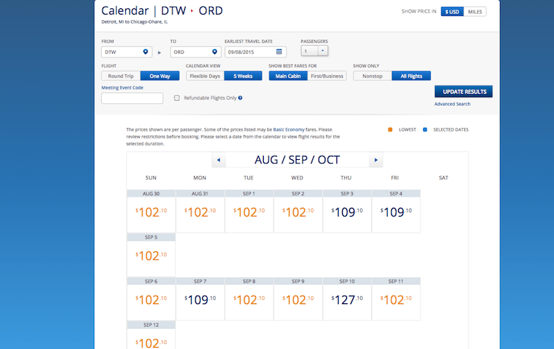 Delta DTW ORD price
