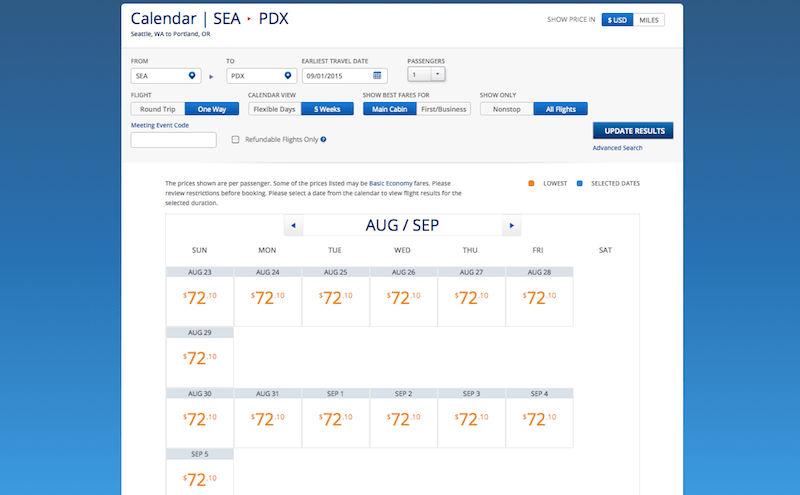 Delta SEA PDX price