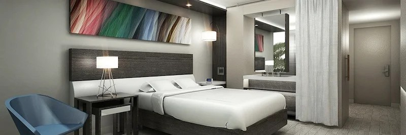 A guestroom at the Hyatt Centric South Beach.