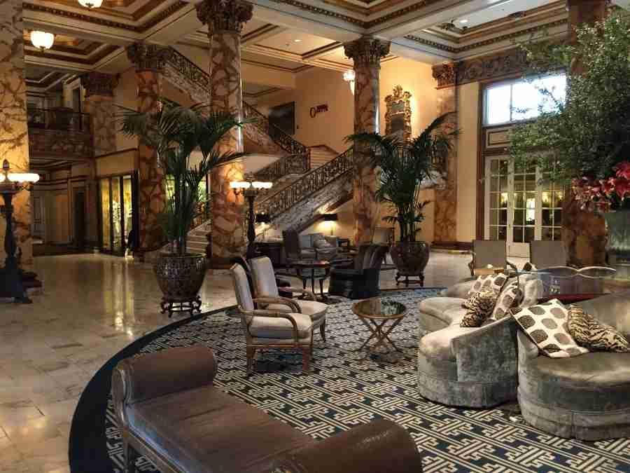 The stunning lobby of the Fairmont San Francisco.