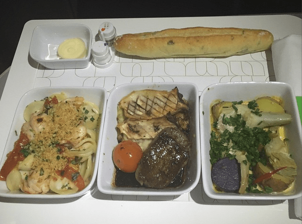 NOURISHMINT on JetBlue Mint  allows you to customize your main meal by choosing three items from a list of five tapas-style dishes curated by New York City