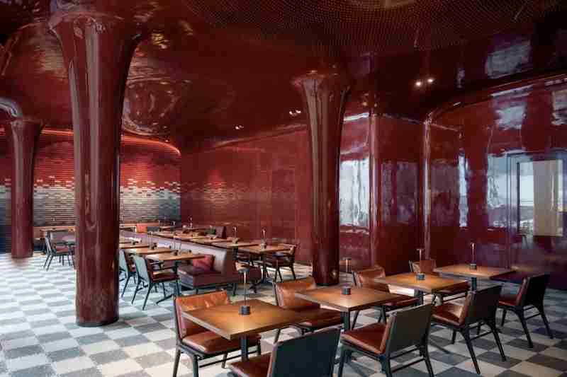 The eye-catching dining room at Les Bains.