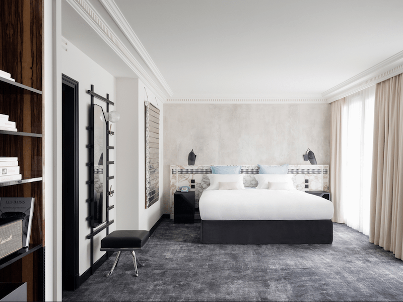 A guestroom at the new Les Bains hotel.