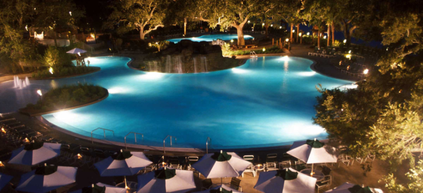 The beautiful pool area at the Grand Hotel Marriott in Alabama.
