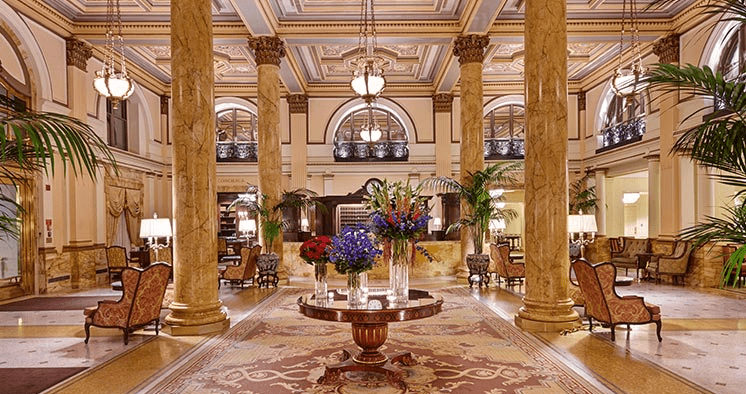 The opulent lobby of the InterContinental Willard in Washington, D.C.