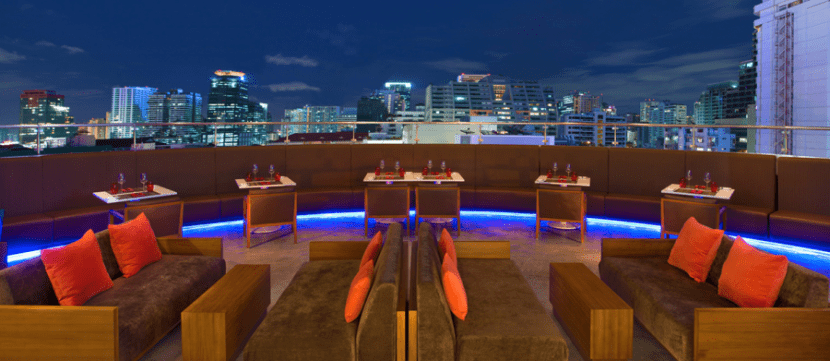 An outdoor terrace at the Aloft Bangkok, which starts at 3,000 points per night.