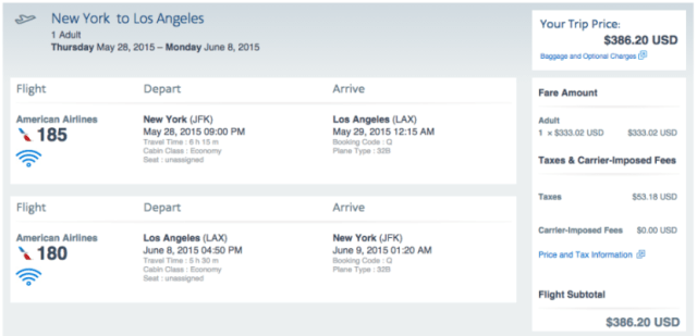New York (JFK) to Los Angeles (LAX) for $386 roundtrip.