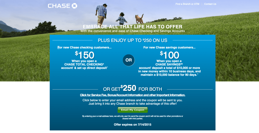 Earn up to $250 When You Open Chase Bank Accounts