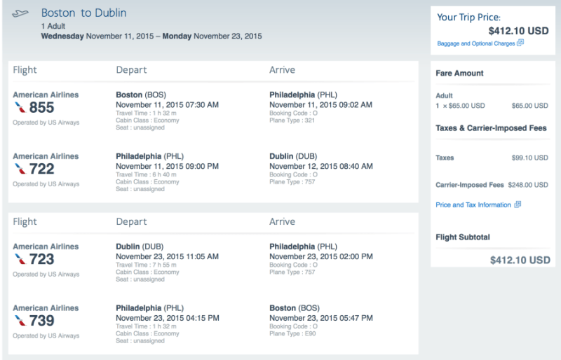 Head from Boston-Dublin for $412 on American Airlines.