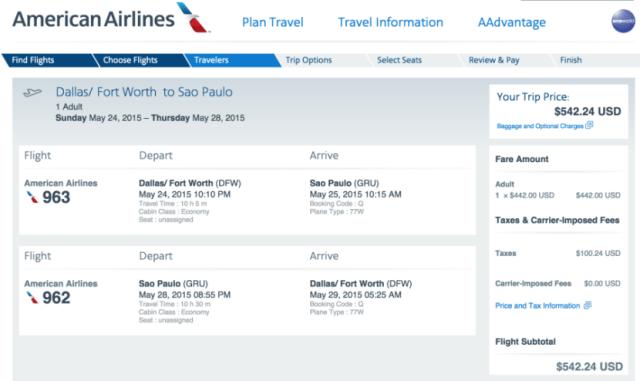 Dallas/Fort Worth (DFW) to Sao Paulo (GRU) for $542.