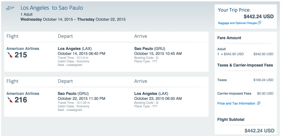 Los Angeles (LAX) to São Paulo (GRU) for $433.