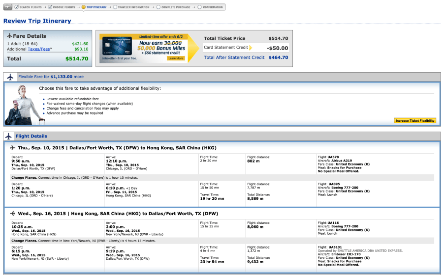 Dallas/Fort Worth (DFW) to Hong Kong (HKG) on United.
