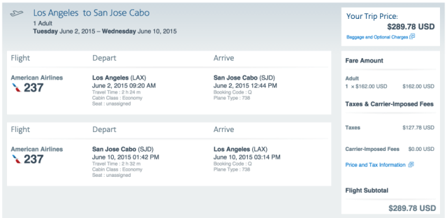 Los Angeles (LAX) to Los Cabos (SJD) for $278 on American Airlines.