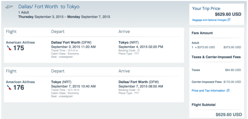 Dallas (DFW)-Tokyo (NRT) for $630 on AA.