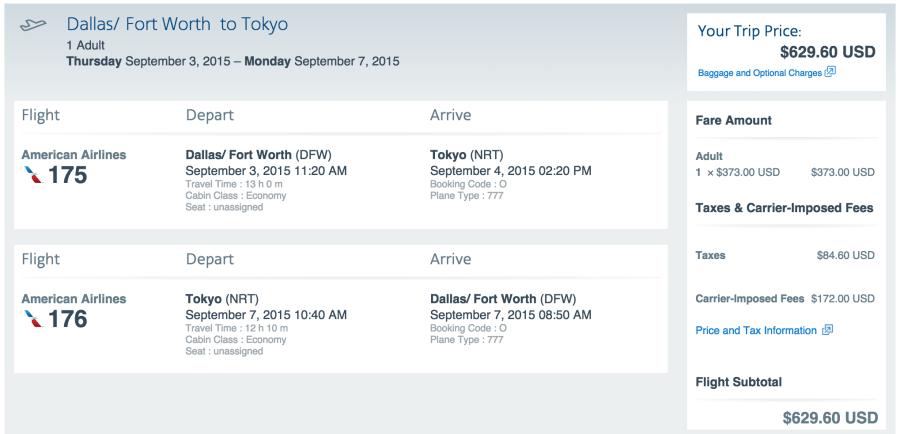 Dallas (DFW)-Tokyo (NRT) for $630 on AA.