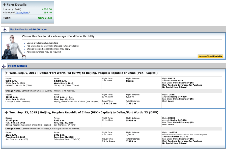 Dallas (DFW)-Beijing (PEK) for $692 on United.