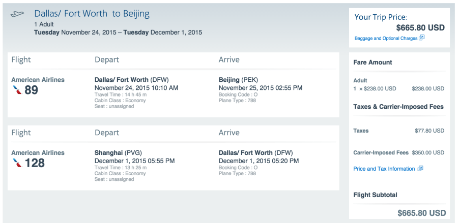Dallas (DFW)-Beijing (PEK)/Shanghai (PVG)-Dallas (DFW) for $666 on American.