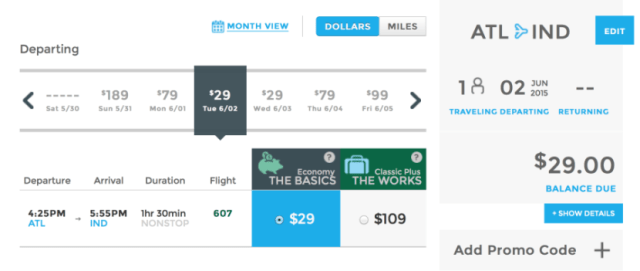 Head from Atlanta to Indianapolis for $29 one-way this summer.