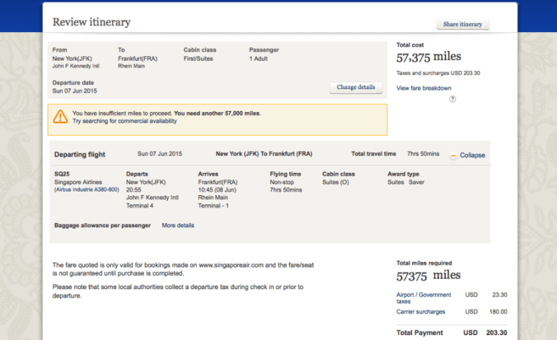 Singapore first class is a bargain at 57,375 miles and $200 in taxes/fees!