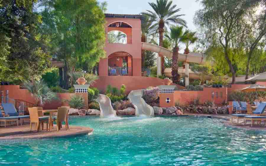 The Sonoran Splash, a family-friendly pool with waterslides, is just one of four pools at the Scottsdale Princess.