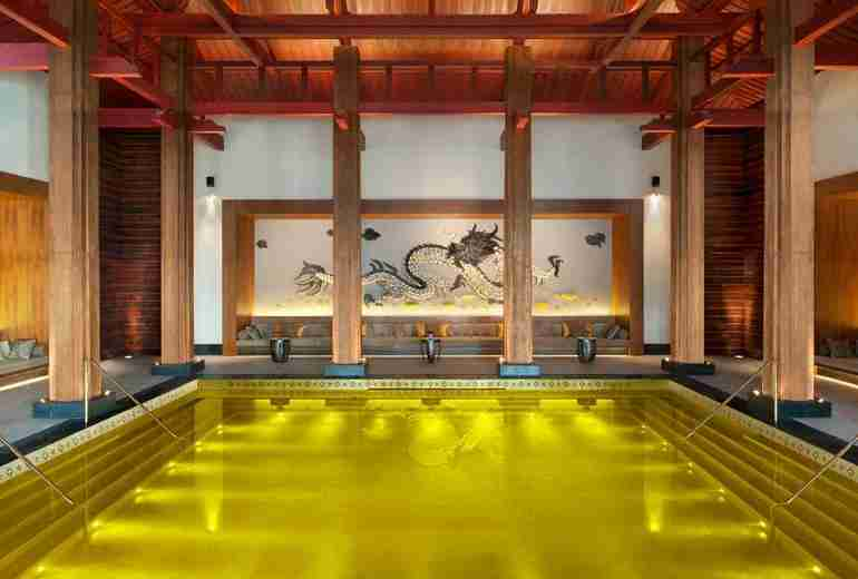 Take a relaxing dip in the Golden Energy Pool at the St. Regis Lhasa Resort.