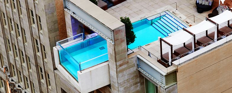 The unique pool at the Joule hotel in Dallas.