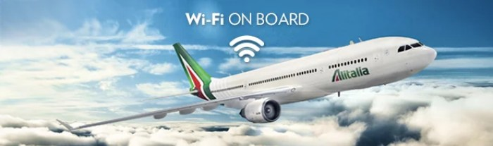 Alitalia's new logo on their plane which offers WiFi
