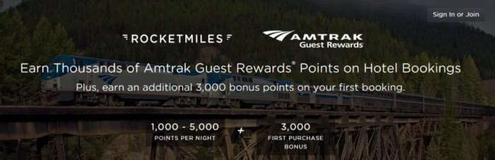 Earn bonus Amtrak Guest Reward points with Rocketmiles bookings