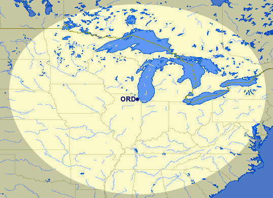 Just about every Midwestern city (and many Southeastern ones too!) are within 650 miles of American