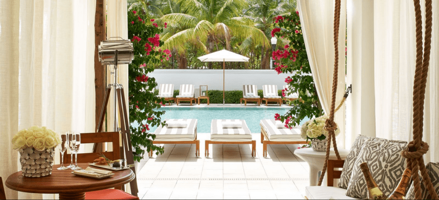The pool at the Shelborne Wyndham Grand South Beach, as seen from a luxuriously appointed private cabana