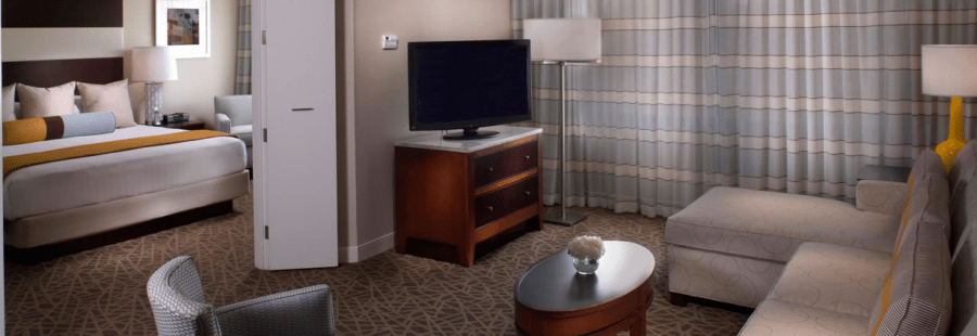Standard accommodations at the Hyatt Regency Suites Atlanta Northwest are spacious suites.