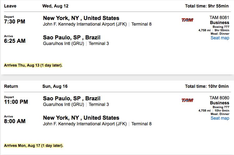 New York (JFK)-São Paulo (GRU) for $1,670 on TAM.