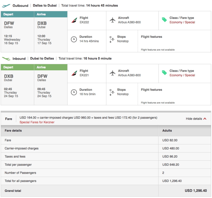 Dallas (DFW)-Dubai (DXB) for $648 on Emirates.