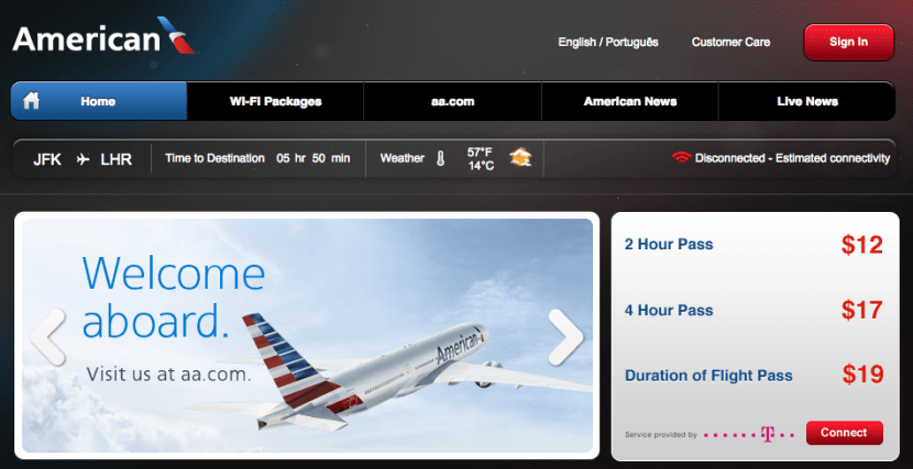 Wi-Fi is available for purchase in all cabins of AA