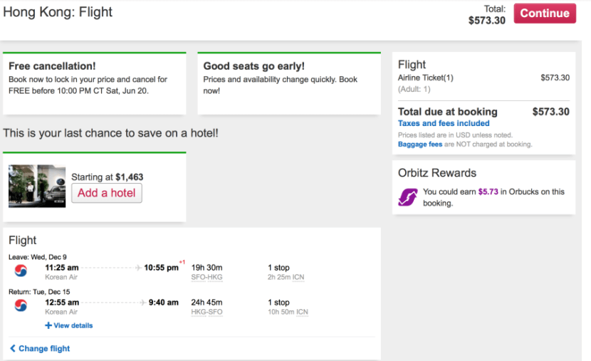 San Francisco (SFO)-Hong Kong (HKG) on Korean Air for $573