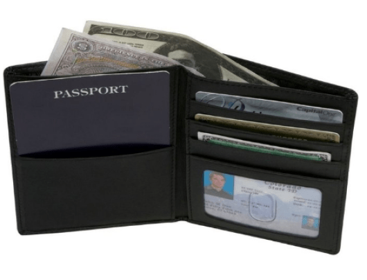 Royce Leather RFID-blocking Passport & Currency Wallet