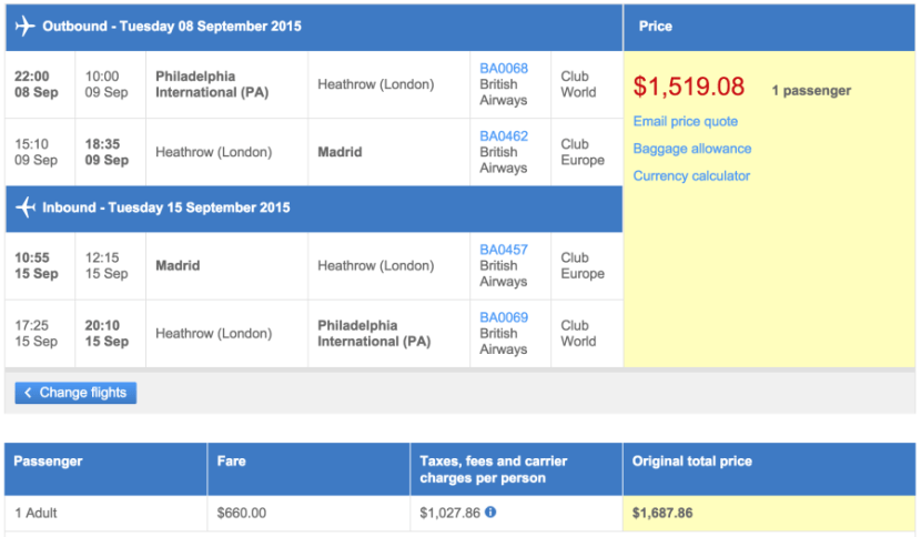 Philadelphia (PHL) to Madrid (MAD) in business class on British Airways for $1,519.
