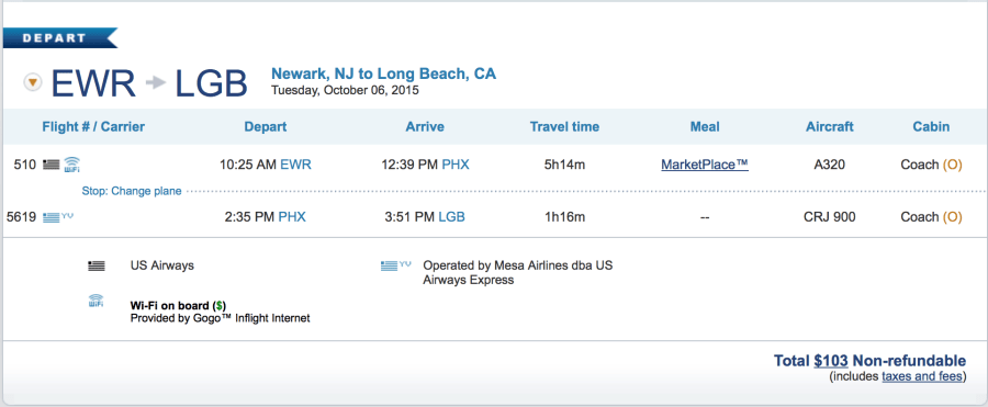 Newark to Long Beach for $103 one-way.