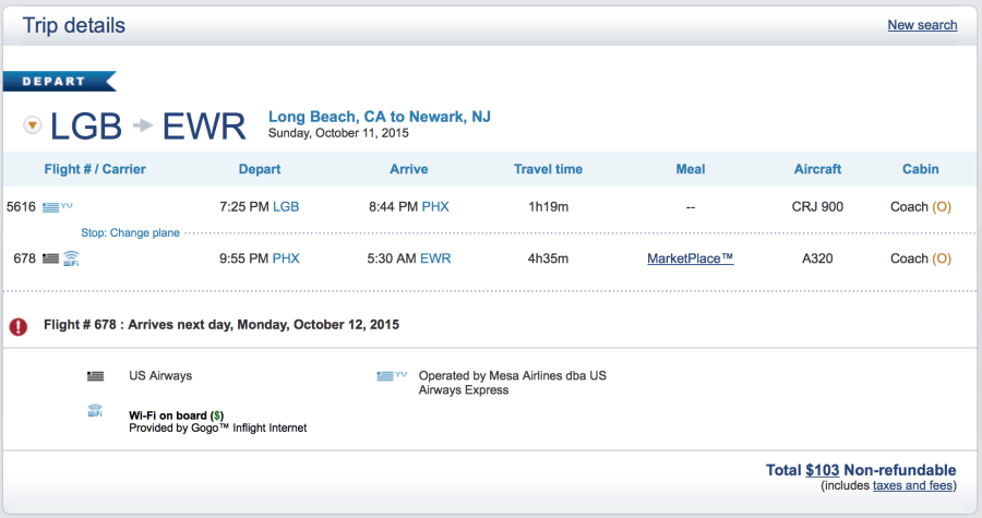 Long Beach to Newark for $103 one-way.